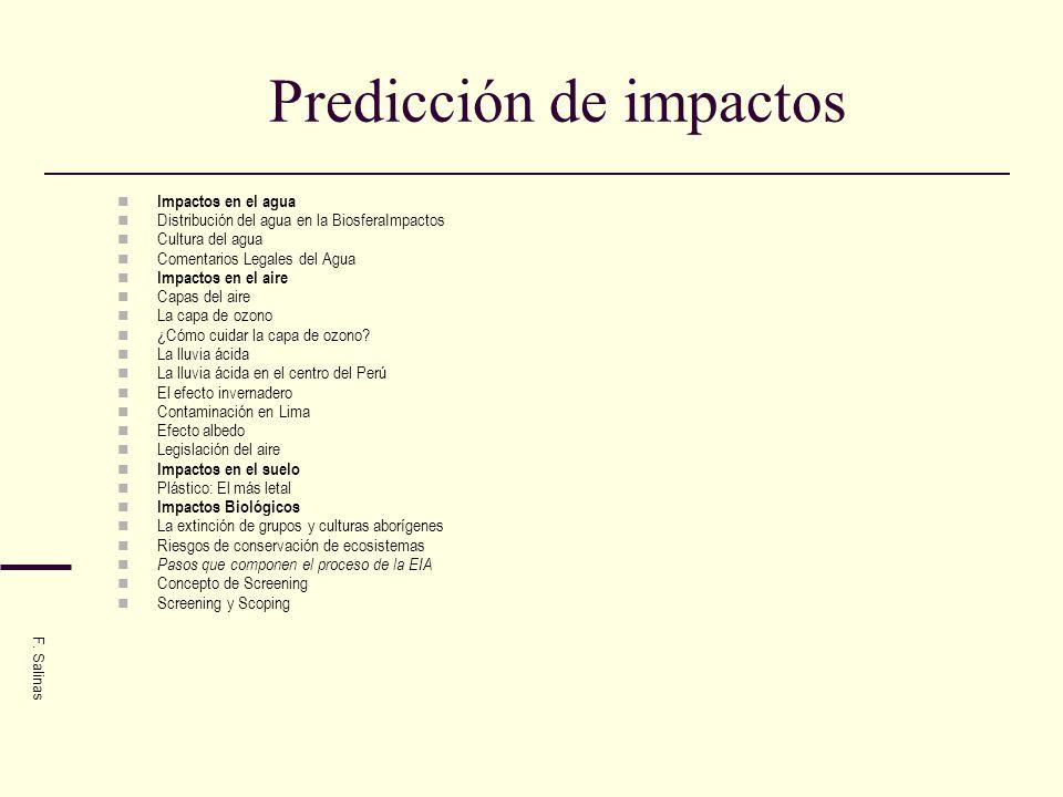Situación de los impactos ambientales En el Perú el deterioro del ambiente y de los recursos naturales es de preocupación: alta contaminación del agua y deterioro de las cuencas; mala disposición de los residuos sólidos; ciudades desordenadas y con alta contaminación del aire; pérdida de los suelos agrícolas por erosión, salinización y pérdida de la fertilidad; destrucción de al menos 10 millones de hectáreas de bosques; 221 especies de la fauna en peligro de extinción; pérdida de cultivos nativos y sus variedades; y contaminación el aire.