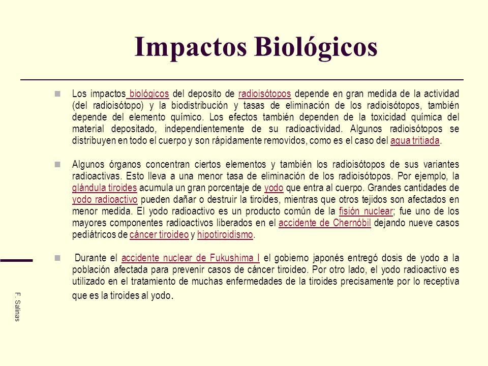 Impactos Biológicos Los impactos biológicos del deposito de radioisótopos depende en gran medida de la actividad (del radioisótopo) y la biodistribuci