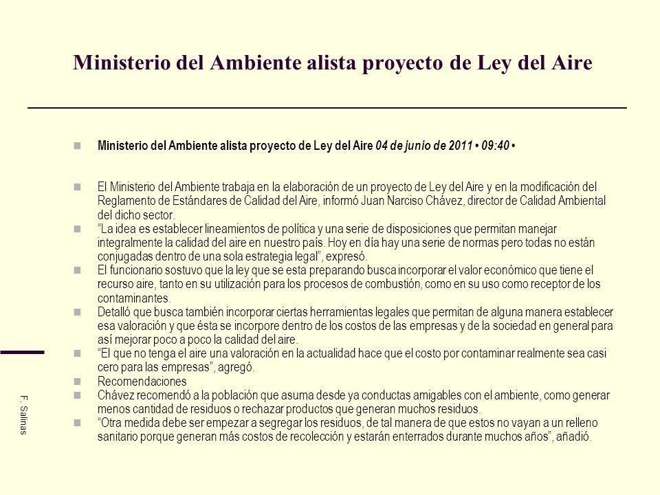 Ministerio del Ambiente alista proyecto de Ley del Aire Ministerio del Ambiente alista proyecto de Ley del Aire 04 de junio de 2011 09:40 El Ministeri