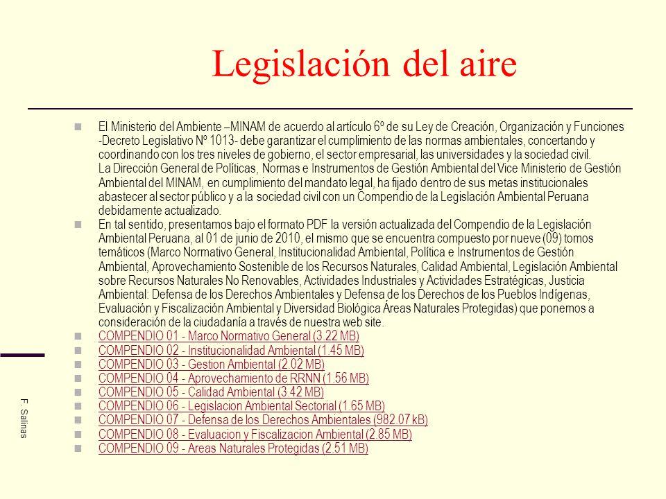 Legislación del aire El Ministerio del Ambiente –MINAM de acuerdo al artículo 6º de su Ley de Creación, Organización y Funciones -Decreto Legislativo