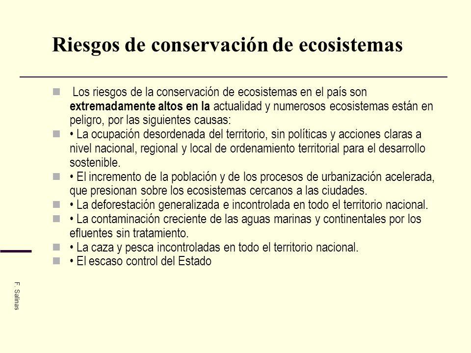 Riesgos de conservación de ecosistemas Los riesgos de la conservación de ecosistemas en el país son extremadamente altos en la actualidad y numerosos