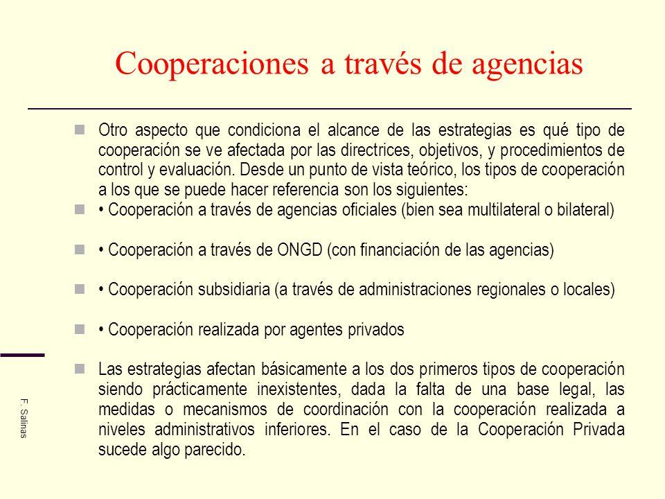Cooperaciones a través de agencias Otro aspecto que condiciona el alcance de las estrategias es qué tipo de cooperación se ve afectada por las directr