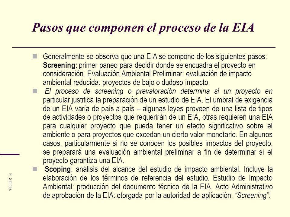 Pasos que componen el proceso de la EIA Generalmente se observa que una EIA se compone de los siguientes pasos: Screening: primer paneo para decidir d