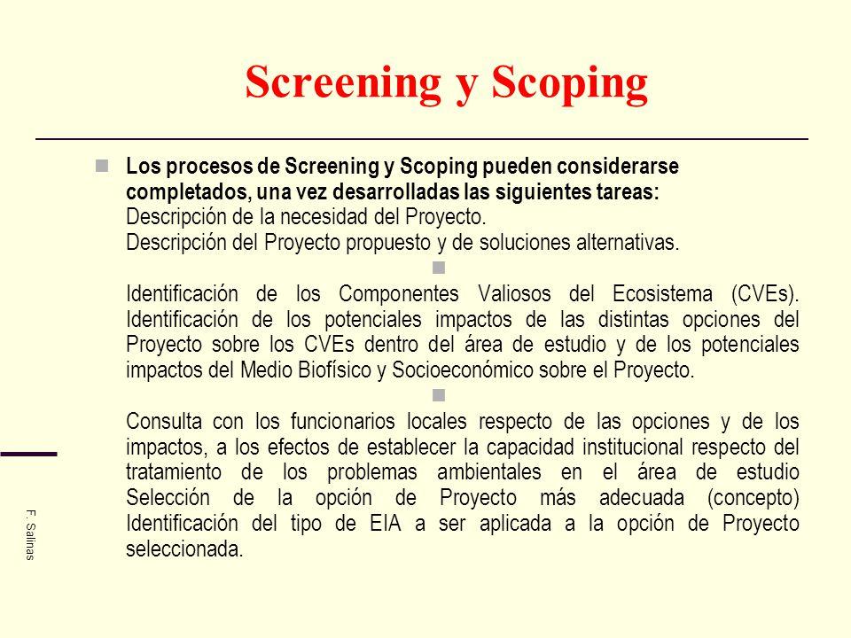 Screening y Scoping Los procesos de Screening y Scoping pueden considerarse completados, una vez desarrolladas las siguientes tareas: Descripción de l
