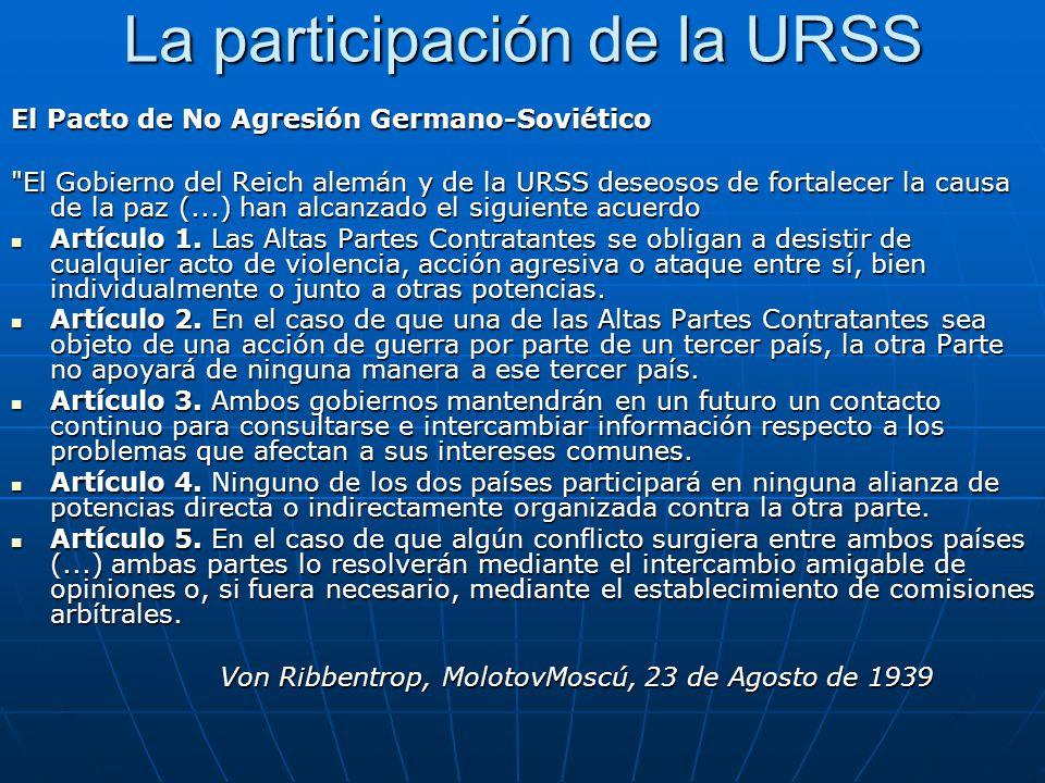 La participación de la URSS El Pacto de No Agresión Germano-Soviético