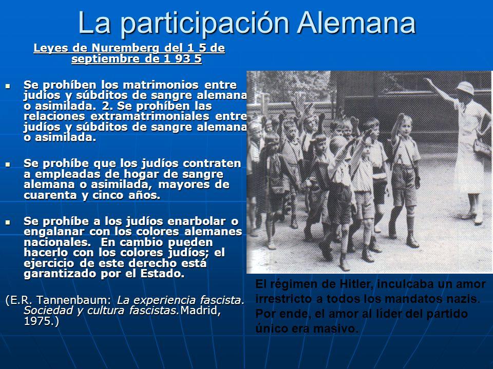 La participación Alemana Leyes de Nuremberg del 1 5 de septiembre de 1 93 5 Leyes de Nuremberg del 1 5 de septiembre de 1 93 5 Se prohíben los matrimo
