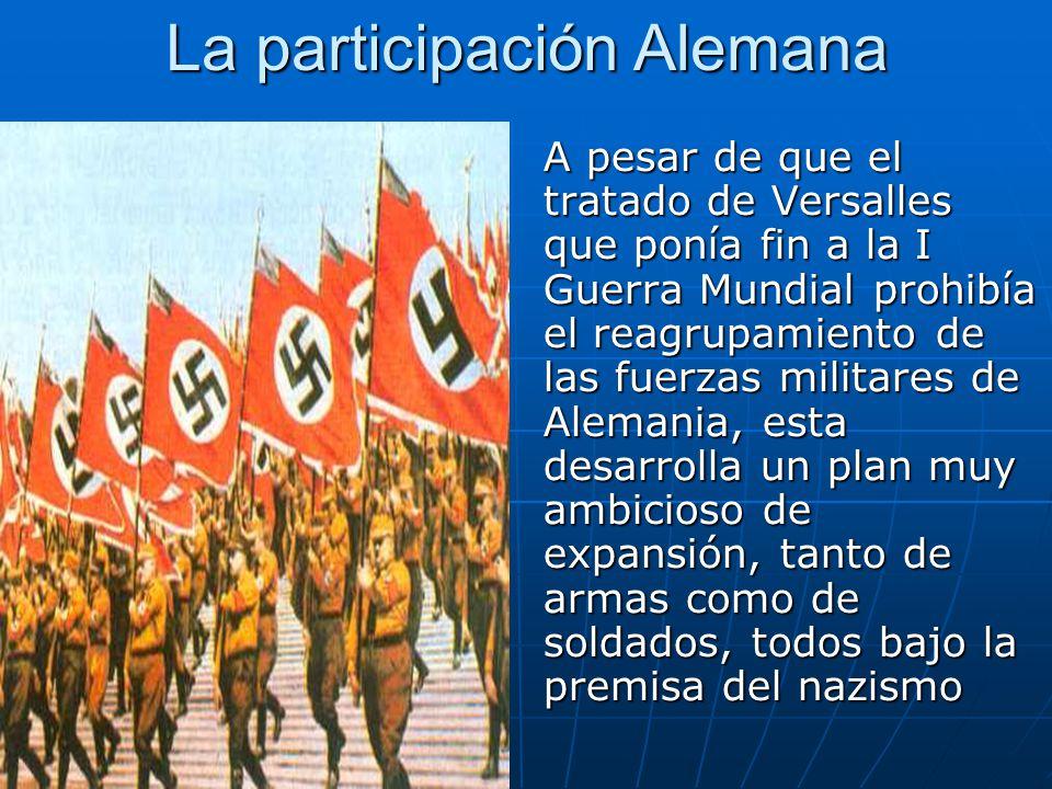 La participación Alemana A pesar de que el tratado de Versalles que ponía fin a la I Guerra Mundial prohibía el reagrupamiento de las fuerzas militare