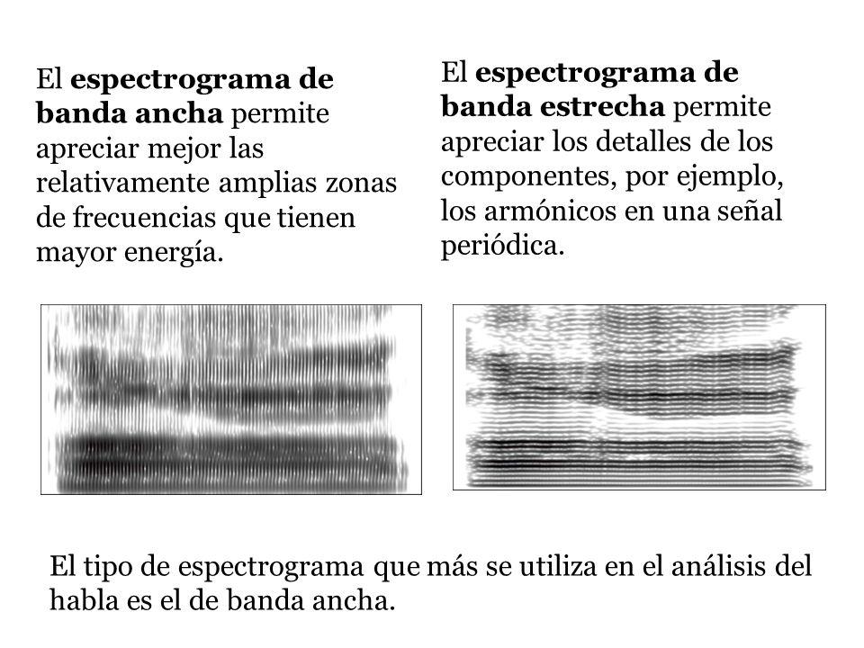 El espectrograma de banda ancha permite apreciar mejor las relativamente amplias zonas de frecuencias que tienen mayor energía. El espectrograma de ba