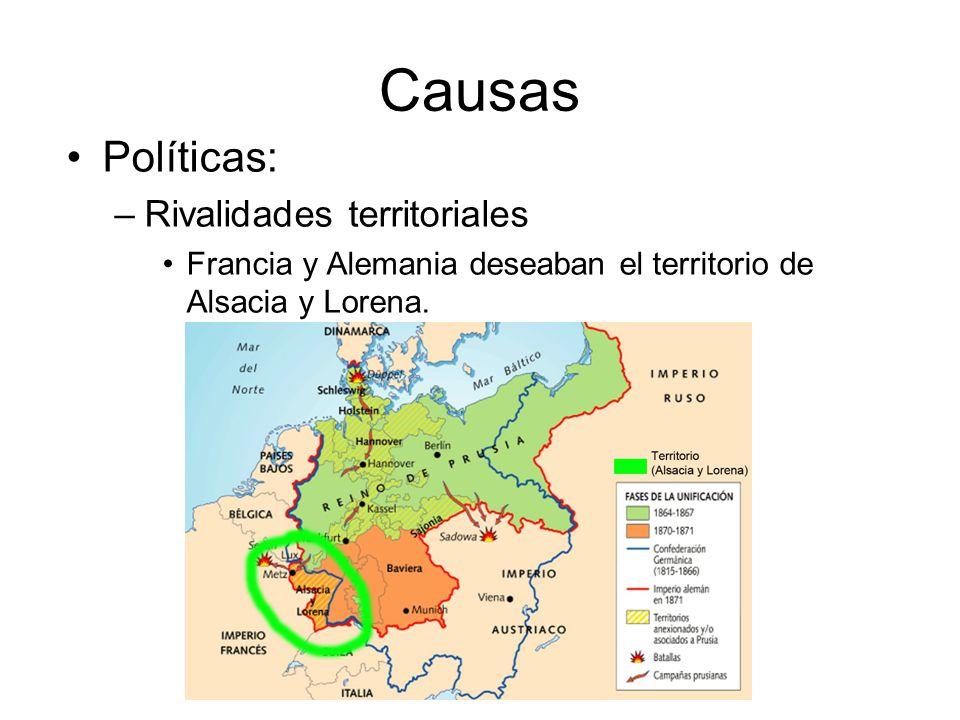 Causas Políticas: –Rivalidades territoriales Francia y Alemania deseaban el territorio de Alsacia y Lorena.