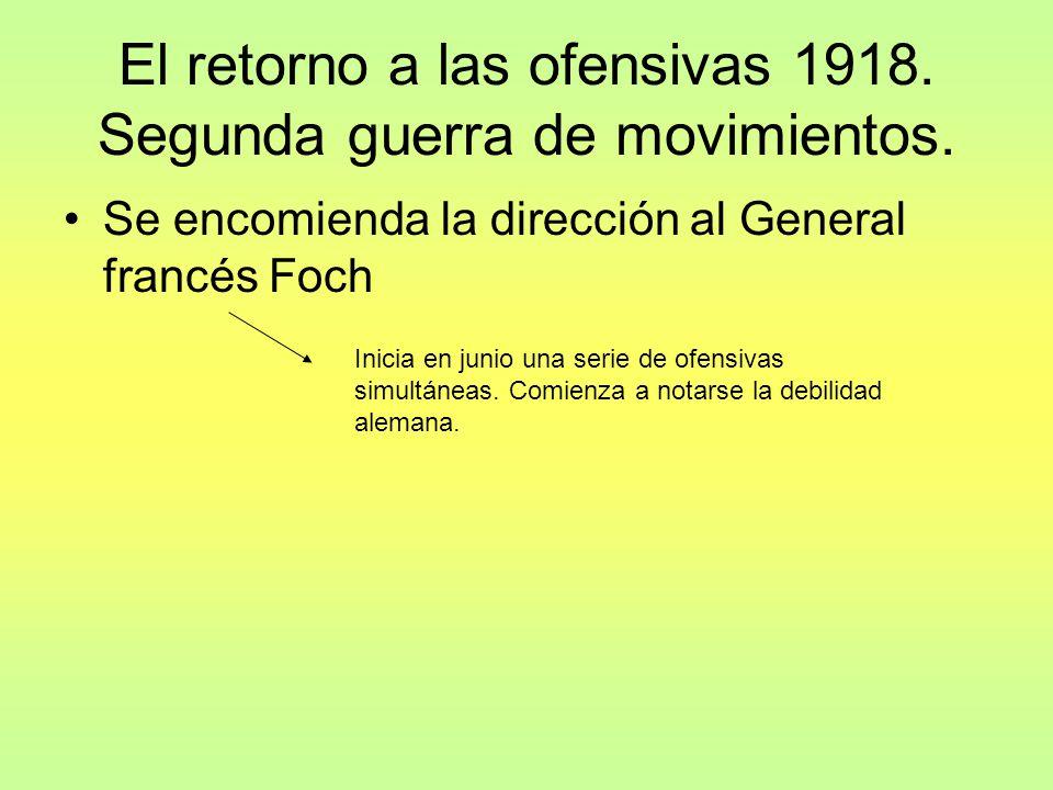 El retorno a las ofensivas 1918.Segunda guerra de movimientos.