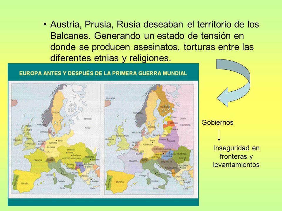 –Formación de alianzas militares 1882: Triple Alianza –Alemania –Austro-Hungría –Italia –1892/1907: Triple Entente Inglaterra Francia Rusia Carrera armamentos