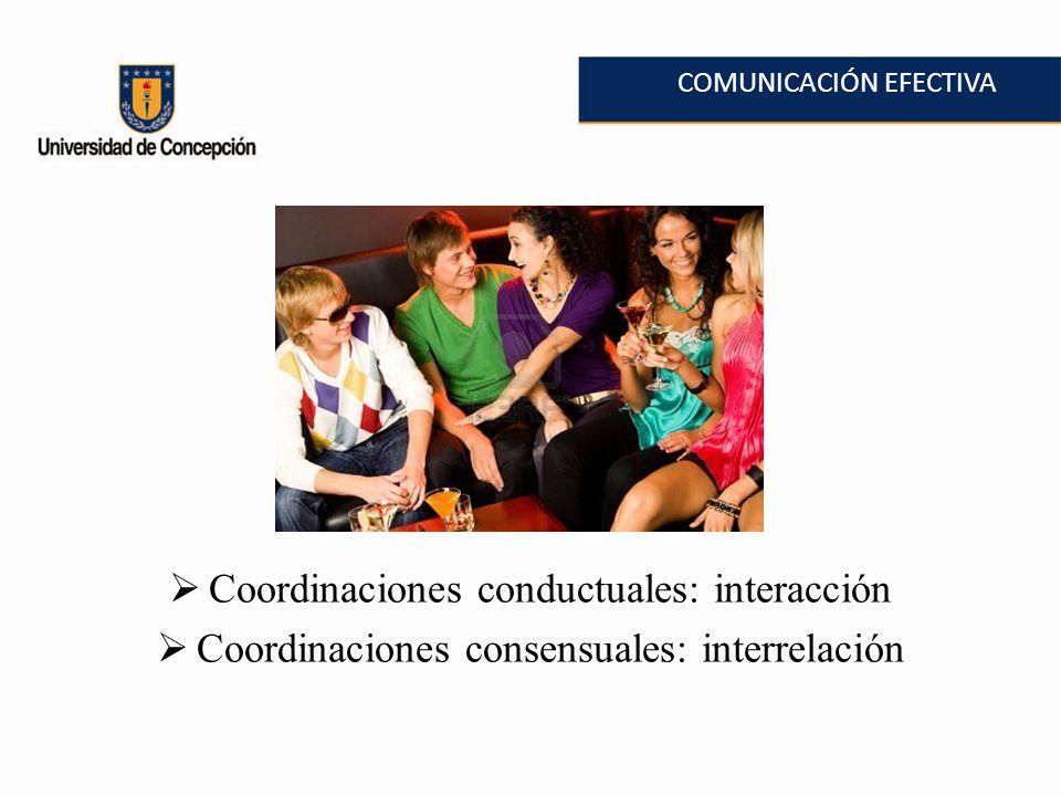 COMUNICACIÓN EFECTIVA Coordinaciones conductuales: interacción Coordinaciones consensuales: interrelación