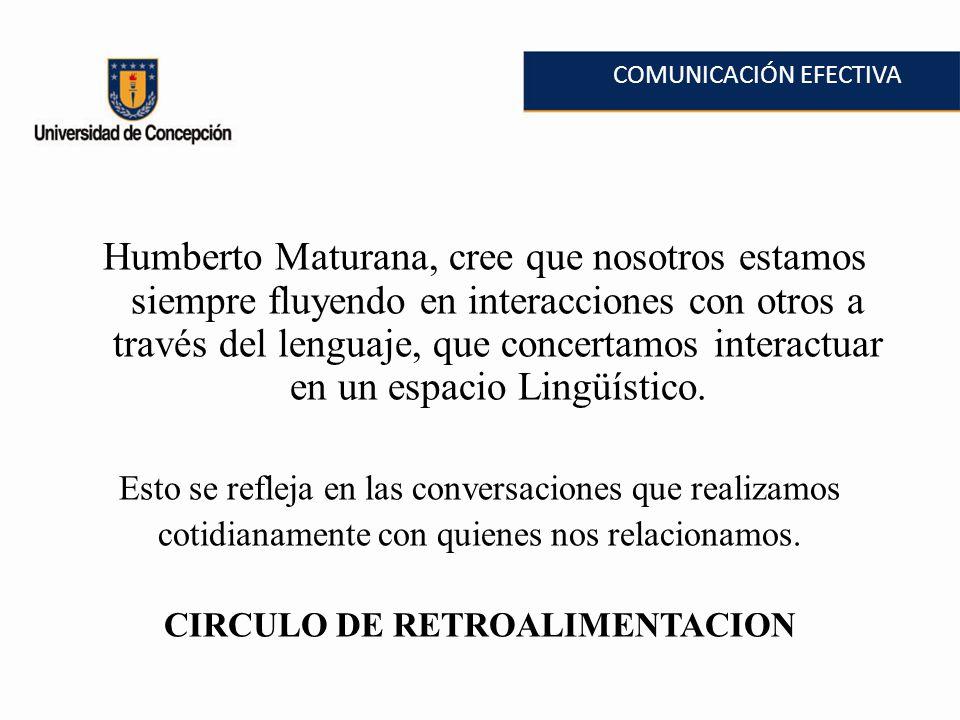 COMUNICACIÓN EFECTIVA Humberto Maturana, cree que nosotros estamos siempre fluyendo en interacciones con otros a través del lenguaje, que concertamos interactuar en un espacio Lingüístico.