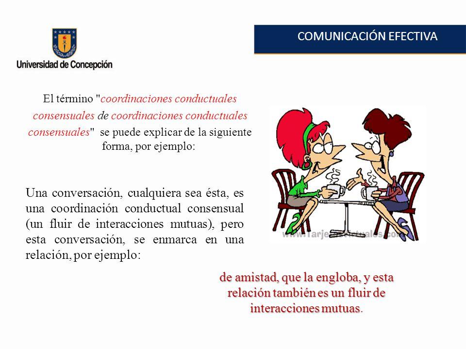 COMUNICACIÓN EFECTIVA El término coordinaciones conductuales consensuales de coordinaciones conductuales consensuales se puede explicar de la siguiente forma, por ejemplo: Una conversación, cualquiera sea ésta, es una coordinación conductual consensual (un fluir de interacciones mutuas), pero esta conversación, se enmarca en una relación, por ejemplo: de amistad, que la engloba, y esta relación también es un fluir de interacciones mutuas de amistad, que la engloba, y esta relación también es un fluir de interacciones mutuas.