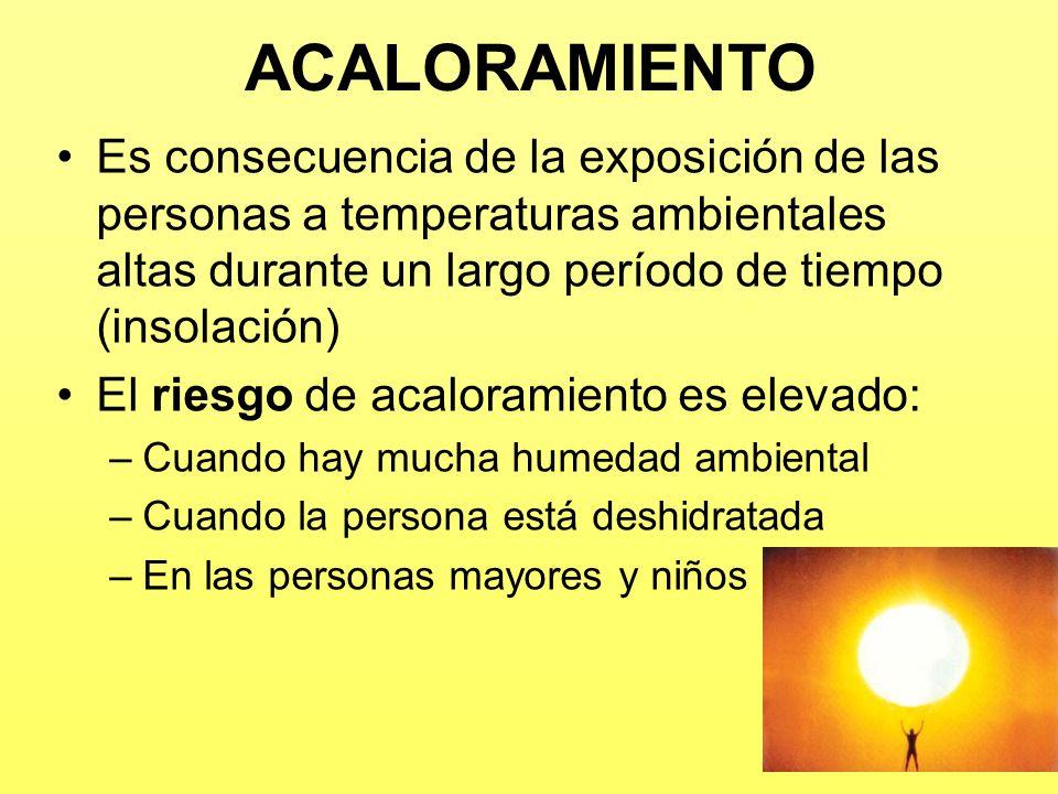 ACALORAMIENTO Es consecuencia de la exposición de las personas a temperaturas ambientales altas durante un largo período de tiempo (insolación) El rie