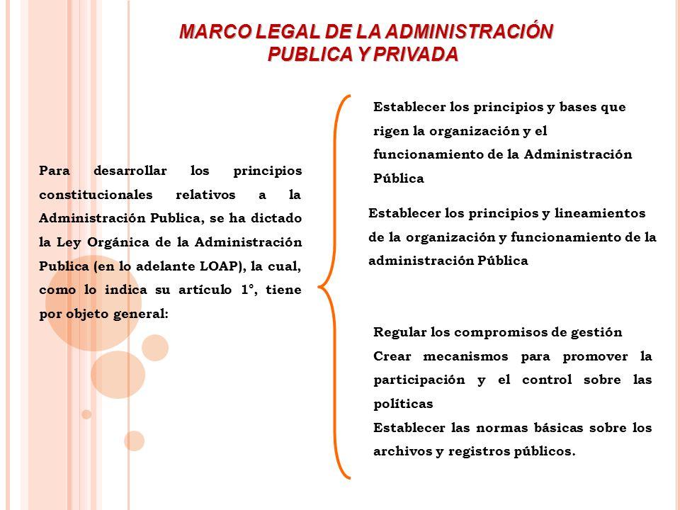 Para desarrollar los principios constitucionales relativos a la Administración Publica, se ha dictado la Ley Orgánica de la Administración Publica (en