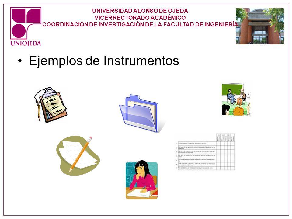 UNIVERSIDAD ALONSO DE OJEDA VICERRECTORADO ACADÉMICO COORDINACIÓN DE INVESTIGACIÓN DE LA FACULTAD DE INGENIERÍA Ejemplos de Instrumentos