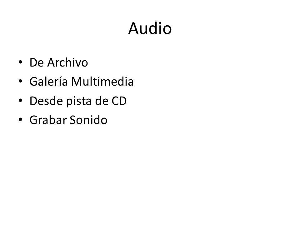 Audio De Archivo Galería Multimedia Desde pista de CD Grabar Sonido