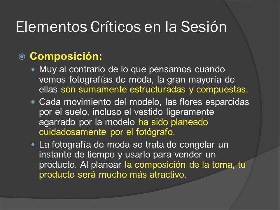 Elementos Críticos en la Sesión Composición: Muy al contrario de lo que pensamos cuando vemos fotografías de moda, la gran mayoría de ellas son sumamente estructuradas y compuestas.