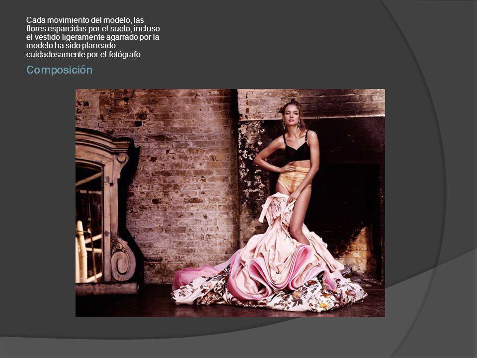 Composición Cada movimiento del modelo, las flores esparcidas por el suelo, incluso el vestido ligeramente agarrado por la modelo ha sido planeado cuidadosamente por el fotógrafo