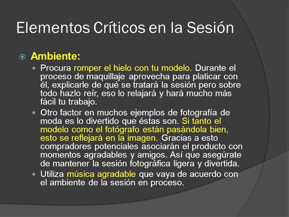 Elementos Críticos en la Sesión Ambiente: Procura romper el hielo con tu modelo.