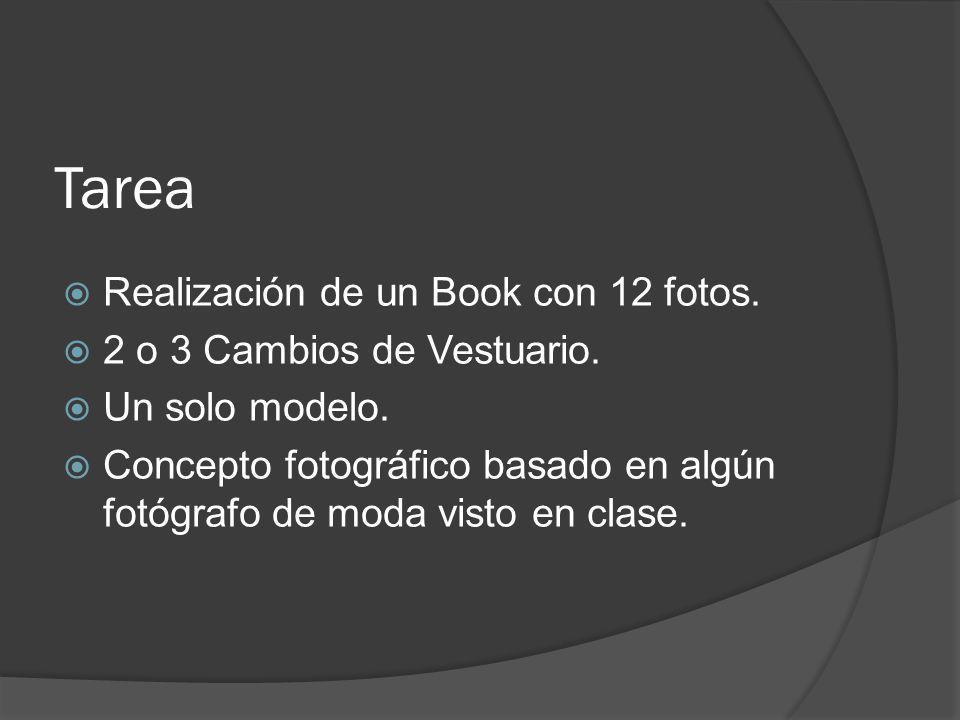 Tarea Realización de un Book con 12 fotos. 2 o 3 Cambios de Vestuario. Un solo modelo. Concepto fotográfico basado en algún fotógrafo de moda visto en