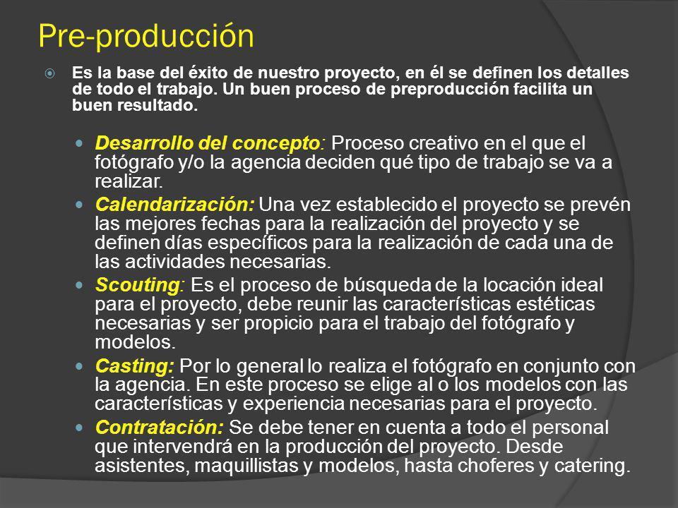 Pre-producción Es la base del éxito de nuestro proyecto, en él se definen los detalles de todo el trabajo. Un buen proceso de preproducción facilita u