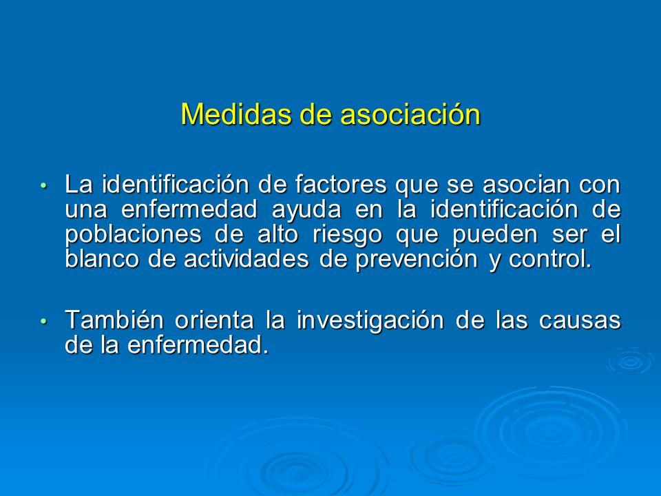 Medidas de asociación La identificación de factores que se asocian con una enfermedad ayuda en la identificación de poblaciones de alto riesgo que pueden ser el blanco de actividades de prevención y control.