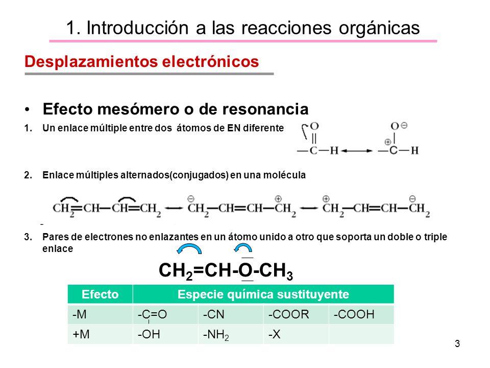 3 1. Introducción a las reacciones orgánicas Desplazamientos electrónicos Efecto mesómero o de resonancia 1.Un enlace múltiple entre dos átomos de EN