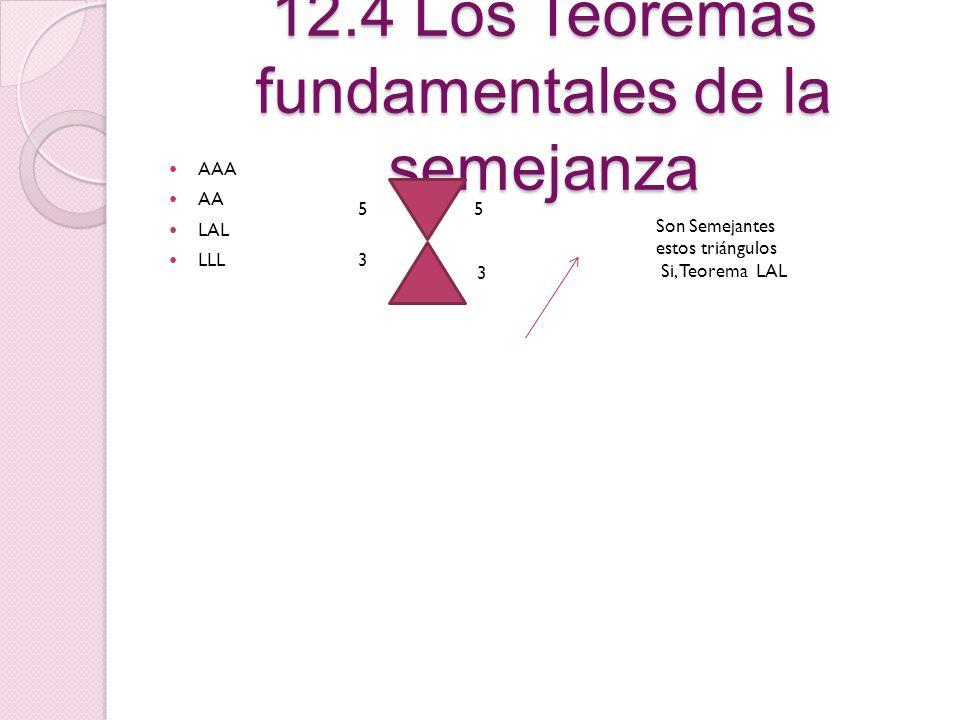 12.3 El tema principal de la Proporcionalidad y su reciproco Si una recta paralela a un lado del triangulo intercepta en puntos distintos a los otros