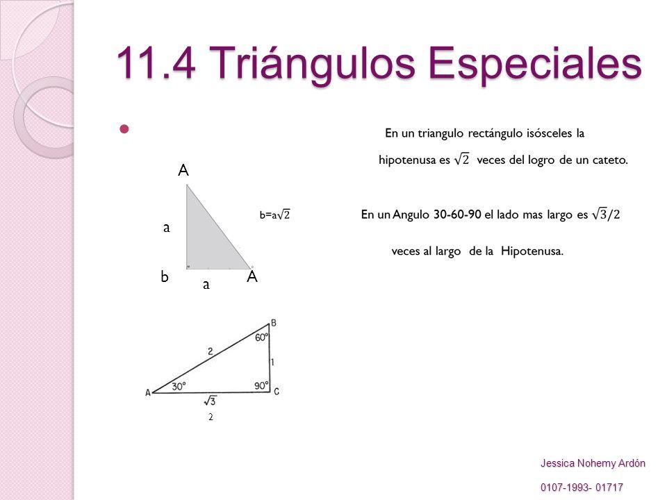 11.4 Triángulos Especiales A a bA a 2 Jessica Nohemy Ardón 0107-1993- 01717 0107-1993- 01717