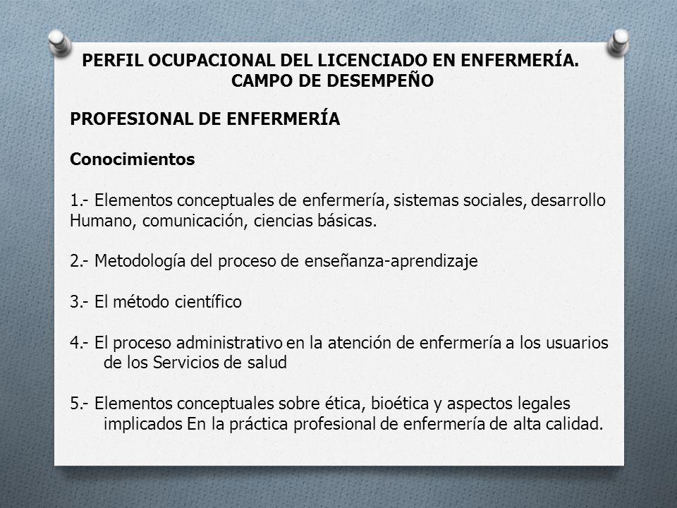 PERFIL OCUPACIONAL DEL LICENCIADO EN ENFERMERÍA. CAMPO DE DESEMPEÑO PROFESIONAL DE ENFERMERÍA Conocimientos 1.- Elementos conceptuales de enfermería,