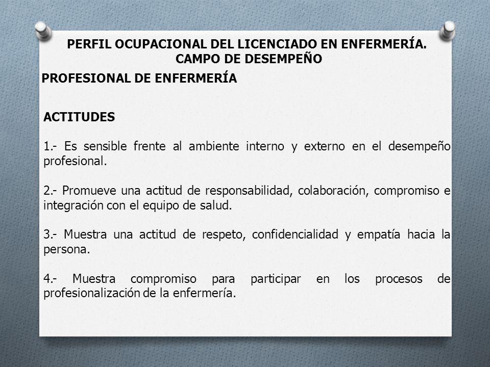 PERFIL OCUPACIONAL DEL LICENCIADO EN ENFERMERÍA. CAMPO DE DESEMPEÑO ACTITUDES 1.- Es sensible frente al ambiente interno y externo en el desempeño pro
