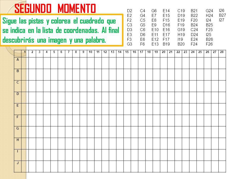 D2 E2 F2 C3 D3 E3 F3 G3 SEGUNDO MOMENTO Sigue las pistas y colorea el cuadrado que se indica en la lista de coordenadas. Al final descubrirás una imag