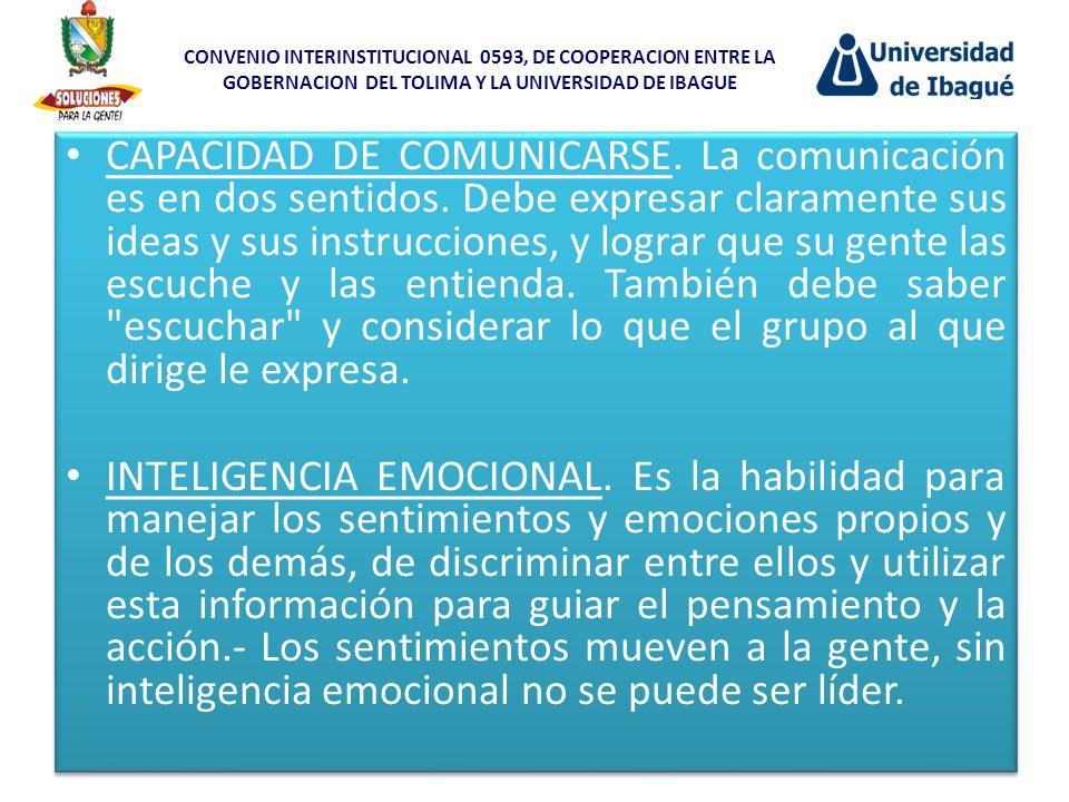 CAPACIDAD DE COMUNICARSE. La comunicación es en dos sentidos. Debe expresar claramente sus ideas y sus instrucciones, y lograr que su gente las escuch
