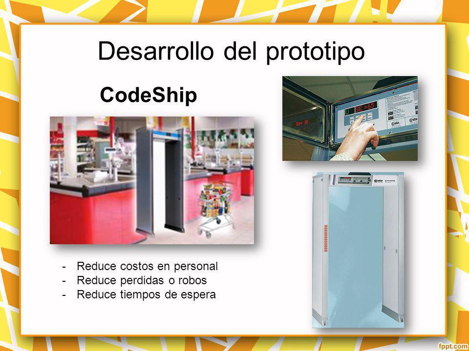 Desarrollo del prototipo CodeShip -Reduce costos en personal -Reduce perdidas o robos -Reduce tiempos de espera