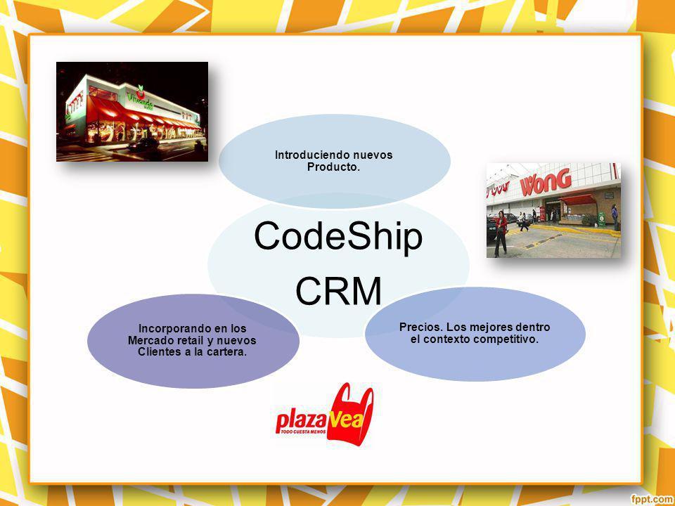 CodeShip CRM Introduciendo nuevos Producto. Precios. Los mejores dentro el contexto competitivo. Incorporando en los Mercado retail y nuevos Clientes