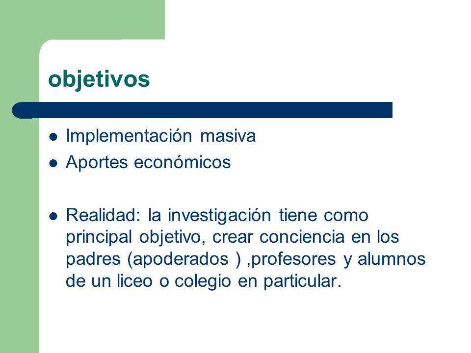 objetivos Implementación masiva Aportes económicos Realidad: la investigación tiene como principal objetivo, crear conciencia en los padres (apoderado