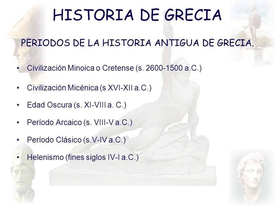 HISTORIA DE GRECIA PERIODOS DE LA HISTORIA ANTIGUA DE GRECIA. Civilización Minoica o Cretense (s. 2600-1500 a.C.) Civilización Micénica (s XVI-XII a.C
