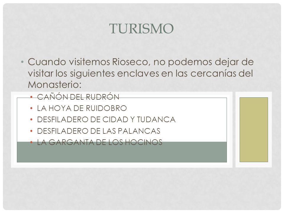 TURISMO Cuando visitemos Rioseco, no podemos dejar de visitar los siguientes enclaves en las cercanías del Monasterio: CAÑÓN DEL RUDRÓN LA HOYA DE RUIDOBRO DESFILADERO DE CIDAD Y TUDANCA DESFILADERO DE LAS PALANCAS LA GARGANTA DE LOS HOCINOS