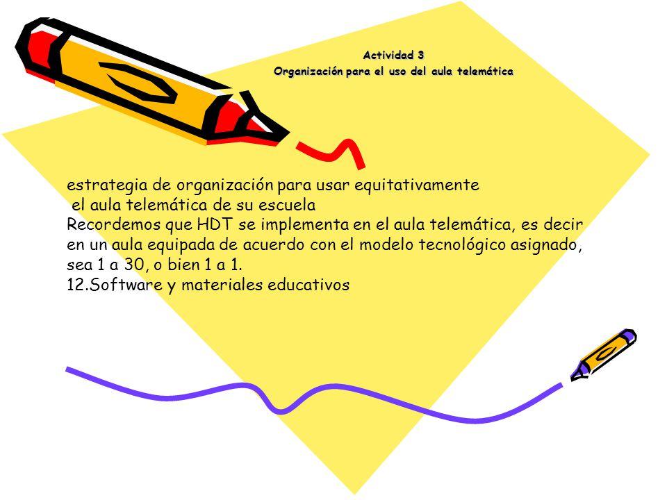 Actividad 3 Organización para el uso del aula telemática estrategia de organización para usar equitativamente el aula telemática de su escuela Recorde