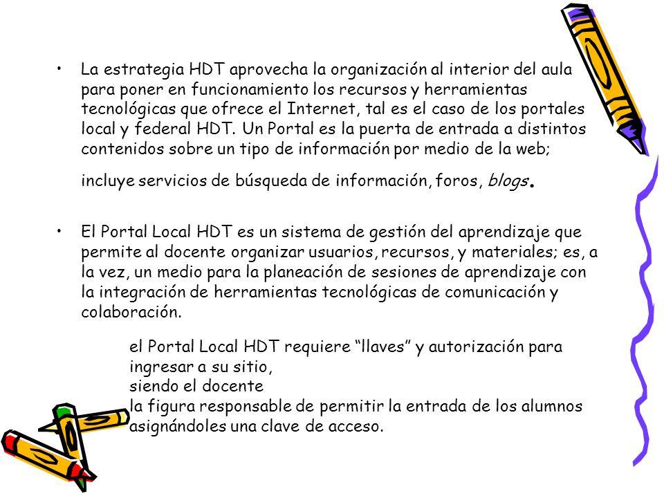 La estrategia HDT aprovecha la organización al interior del aula para poner en funcionamiento los recursos y herramientas tecnológicas que ofrece el I
