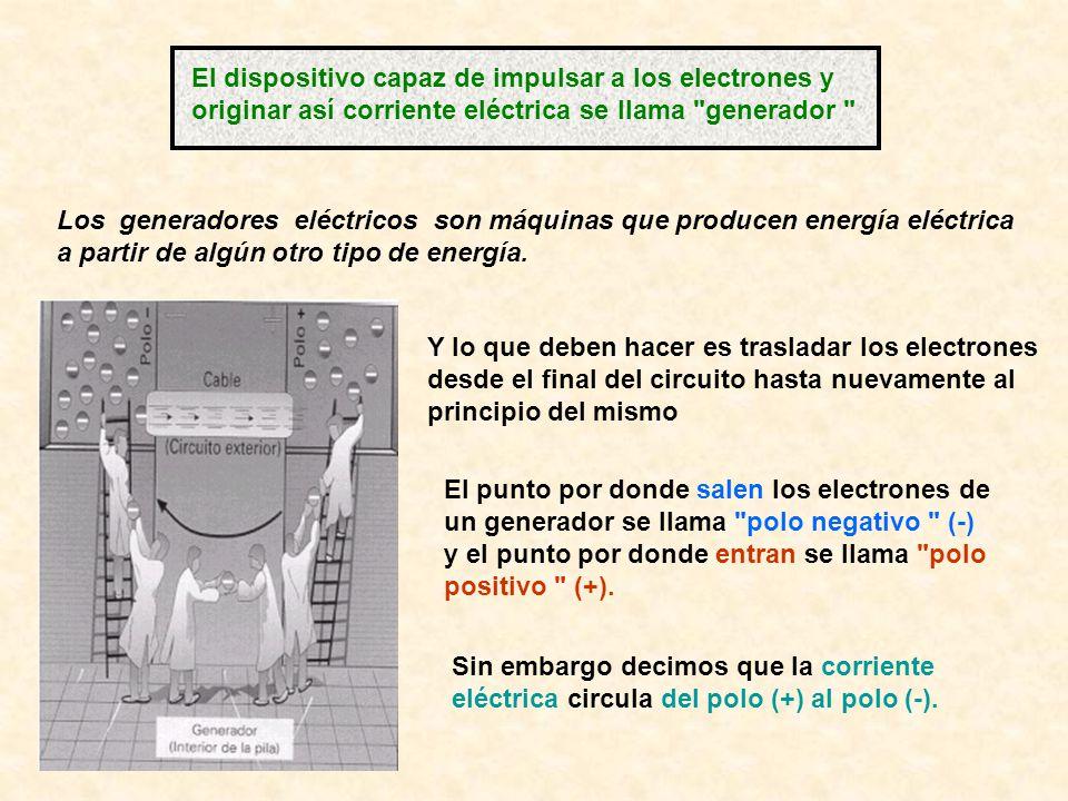El dispositivo capaz de impulsar a los electrones y originar así corriente eléctrica se llama
