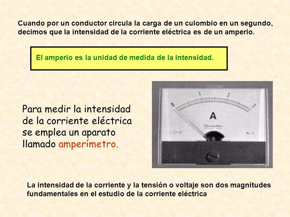 Cuando por un conductor circula la carga de un culombio en un segundo, decimos que la intensidad de la corriente eléctrica es de un amperio. El amperi