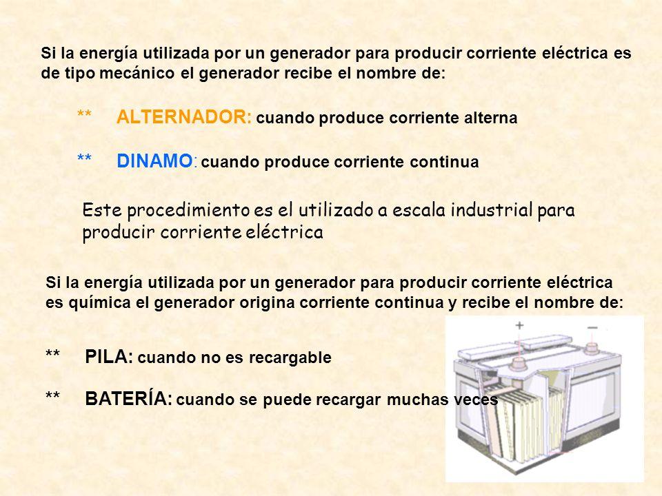 Si la energía utilizada por un generador para producir corriente eléctrica es de tipo mecánico el generador recibe el nombre de: ** ALTERNADOR: cuando
