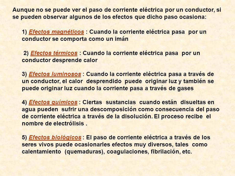 Aunque no se puede ver el paso de corriente eléctrica por un conductor, si se pueden observar algunos de los efectos que dicho paso ocasiona: 1) Efect