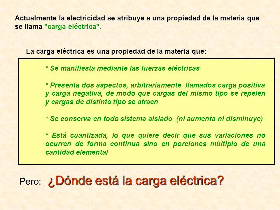 Actualmente la electricidad se atribuye a una propiedad de la materia que se llama