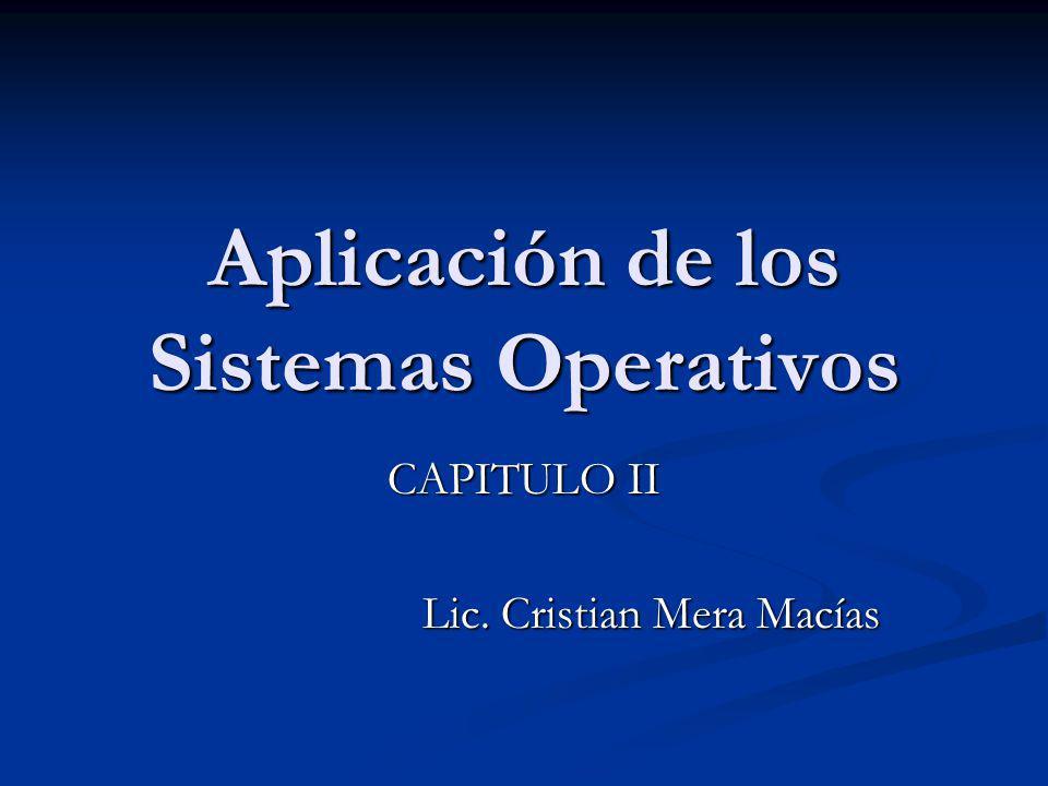 Aplicación de los Sistemas Operativos CAPITULO II Lic. Cristian Mera Macías