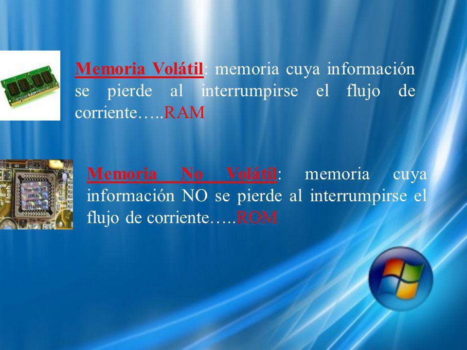 Memoria Volátil: memoria cuya información se pierde al interrumpirse el flujo de corriente…..RAM Memoria No Volátil: memoria cuya información NO se pierde al interrumpirse el flujo de corriente…..ROM