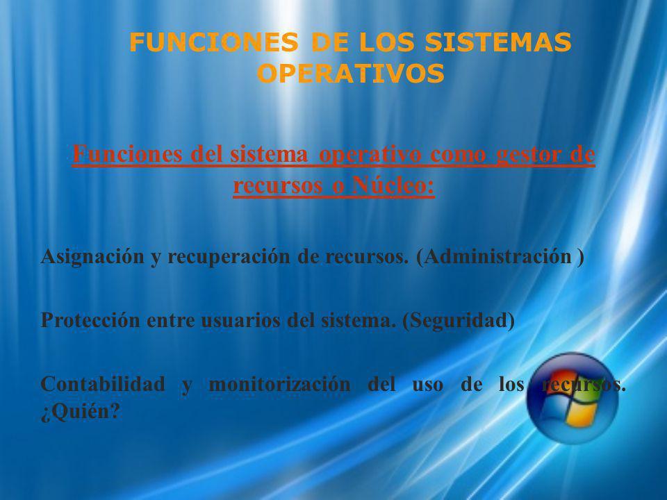 Funciones del sistema operativo como gestor de recursos o Núcleo: Asignación y recuperación de recursos. (Administración ) Protección entre usuarios d